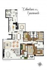 Planta baixa do primeiro pavimento com 590m2 do apartamento cobertura da Mansão Bahiano de Tênis, 3 e 4 suítes na Graça