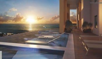 Perspectiva da piscina do La Vue Ladeira da Barra, apartamento 4 quatros e apartamento cobertura no bairro da Barra em Salvador
