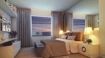 Perspectiva da suíte master do La Vue Ladeira da Barra, apartamento 4 quartos e apartamento cobertura no bairro da Barra em Salvador