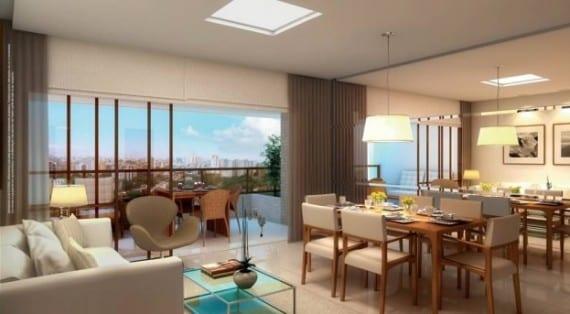 Perspectiva do living do Giardino Loreto, apartamentos a venda com 3 e 4 quartos no bairro da Graça em Salvador, Bahia.