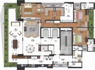 Planta baixa do apartamento tipo 01 com 259m2, 3 quartos com closet ampliado do La Vue Ladeira da Barra, apartamento 4 suítes no bairro da Barra em Salvador