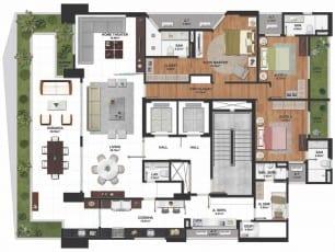 Planta baixa do apartamento tipo 02 com 259m2, 3 quartos com home theater do La Vue Ladeira da Barra, apartamento 4 suítes no bairro da Barra em Salvador