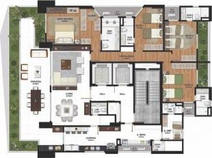 Planta baixa do apartamento tipo com 259m2 do La Vue Ladeira da Barra, apartamento 4 quartos no bairro da Barra em Salvador