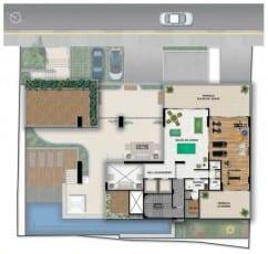 Planta baixa do mezanino do Giardino Loreto, apartamentos a venda com 3 e 4 quartos no bairro da Graça em Salvador, Bahia.
