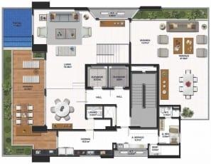 Planta baixa do pavimento inferior do apartamento cobertura do La Vue Ladeira da Barra, área social.