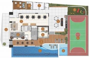 Planta Baixa do playground do La Vue Ladeira da Barra, apartamento 4 quartos e apartamento cobertura no bairro da Barra em Salvador