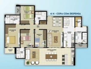 Planta baixa do empreendimento Altavista Patamares com 4 quartos e copa com dispensa, localizado em Patamares, Salvador.