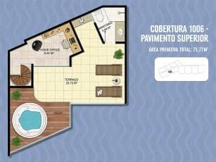 Planta Baixa Ondina Ocean Cobertura - Pavimento Superior, localizado no bairro de Ondina, em Salvador.
