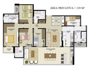 Planta baixa do empreendimento Altavista Patamares com 4 quartos e dependência, possuindo 139 m²