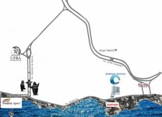 Mapa de Localização do Ondina Ocean, localizado no bairro de Ondina, em Salvador.