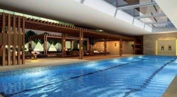 Perispectiva ilustrada da piscina coberta com raia CEO Salvador Shopping
