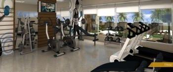 Perspectiva da academia de ginástica do Reserva Tropical Residencial