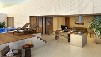 Perspectiva da área externa com piscina do apartamento cobertura do 5.ª Avenida Residence