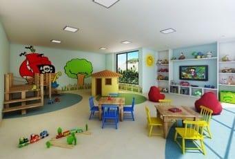 Perspectiva da brinquedoteca do Graça Lummini, um apartamento de luxo com 3 quartos no bairro da Graça, em Salvador, Bahia.