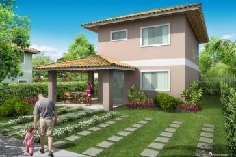 Perspectiva da Casa 4 quartos com varanda ampliada do Garden Club Condomínio