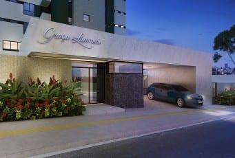 Perspectiva da entrada do Graça Lummini, um apartamento de luxo com 3 quartos no bairro da Graça, em Salvador, Bahia.