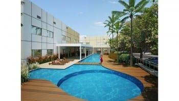 Perspectiva da piscina do Cores de Piatã.