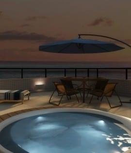 Perspectiva da piscina do apartamento cobertura