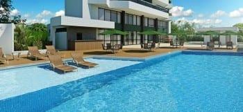 Perspectiva da piscina do Graça Lummini, um apartamento de luxo com 3 quartos no bairro da Graça, em Salvador, Bahia.