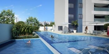 Perspectiva da piscina do Nautillus Jardim Armação.