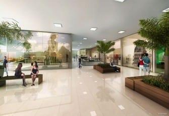 Perspectiva da praça central e mall de lojas