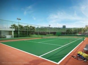 Perspectiva da quadra de tênis