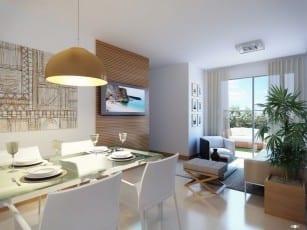 Perspectiva da sala de estar e sala de jantar Garden A do Itapuã Parque, apartamentos à venda em Salvador, Bahia com 2 quartos e 3 quartos no bairro de Itapuã.