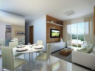 Perspectiva da sala de estar, jantar Garden B do Itapuã Parque, apartamentos à venda em Salvador, Bahia com 2 quartos e 3 quartos no bairro de Itapuã.