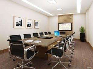 Perspectiva da sala de reunião