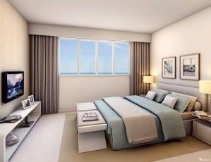 Perspectiva da suíte 01 do apartamento de 140m² - Opção 2