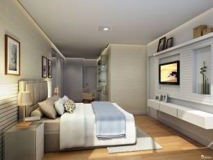 Perspectiva da suíte 01 do apartamento de 142m² - Opção 01
