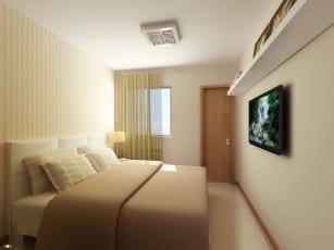 Perspectiva da Suíte do apartamento tipo A do Itapuã Parque, apartamentos à venda em Salvador, Bahia com 2 quartos e 3 quartos no bairro de Itapuã.