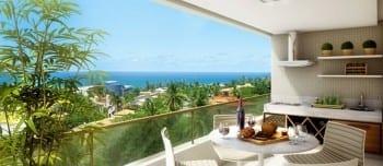 Perspectiva da varanda do apartamento 3 quartos do Parque Tropical