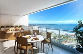 Perspectiva da varanda do apartamento de 142m²