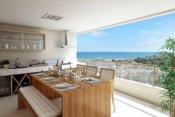 Perspectiva da Varanda Gourmet do apartamento padrão de 4 suítes do Parque Tropical