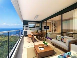 Perspectiva da varanda gourmet do Graça Lummini, um apartamento de luxo com 3 quartos no bairro da Graça, em Salvador, Bahia.