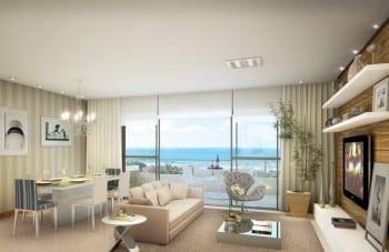 Perspectiva do Living do apartamento padrão de 3 suítes do Parque Tropical