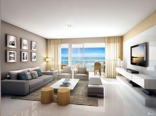 Perspectiva do living do apartamento de 142m² - Opção 01