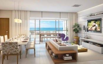 Perspectiva do Living do apartamento padrão de 4 suítes do Parque Tropical