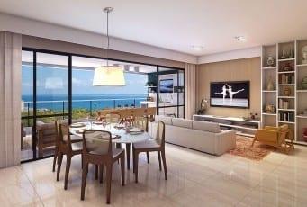 Perspectiva do living do Graça Lummini, um apartamento de luxo com 3 quartos no bairro da Graça, em Salvador, Bahia.