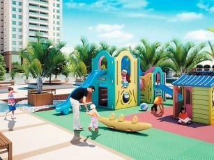 Perspectiva do parque infantil do Parque Tropical