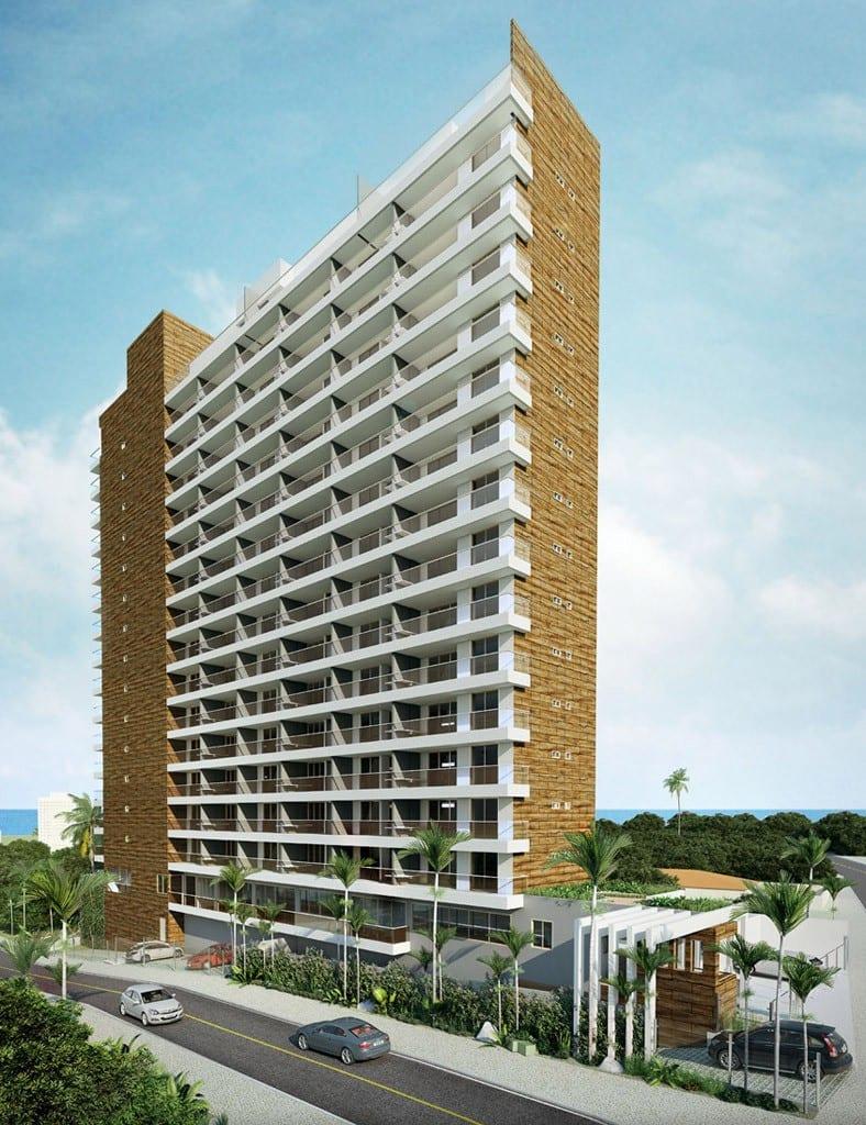 Perspectiva Fachada do 5.ª Avenida Residence, localizado no bairro de Jardim Armação, em Salvador.