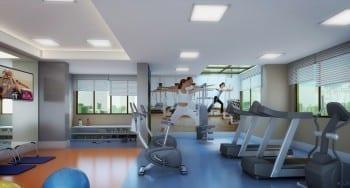 Perspectiva ilustrada do espaço fitness do empreendimento.