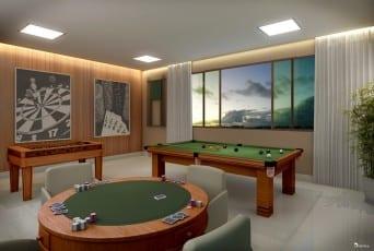 Perspectiva ilustrada do salão de jogos do empreendimento.