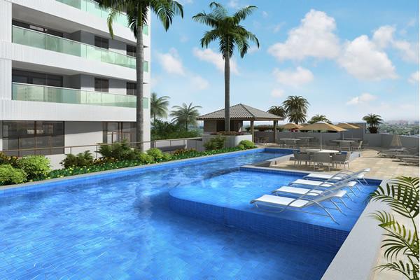Perspectiva Piscina do Essencial Flex House, localizado no bairro da Pituba em Salvador