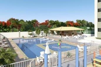 Perspectiva das piscinas do Torres do Atlântico, localizado no bairro de Vilas do Atlântico, em Lauro de Freitas.