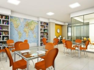 Perspectiva Sala de Estudos do Volare Imbuí, localizado no bairro do Imbuí, em Salvador.