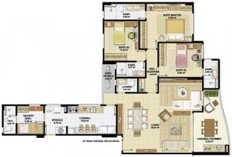 Planta baixa do apartamento 4 quartos, sendo 03 suítes com living integrado do Nautillus Jardim Armação.