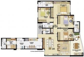 Planta baixa do apartamento 04 quartos, 03 suítes, com lavabo e rouparia do Nautillus Jardim Armação.