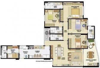 Planta Baixa do apartamento 04 quartos, 03 suítes, com sanitário social do Nautillus Jardim Armação.